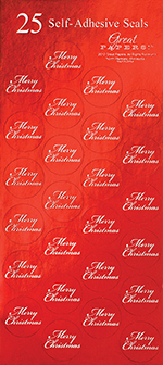 Red Merry Christmas Seals 25CT