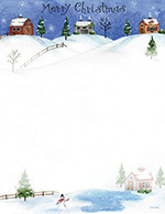 Folk Art Village, Merry Christmas, Snow  Letterhead 80CT