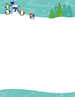 Penguins Playing in snow Letterhead 80CT