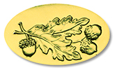 Acorn Leaves Gold Foil Seals, 30 CT